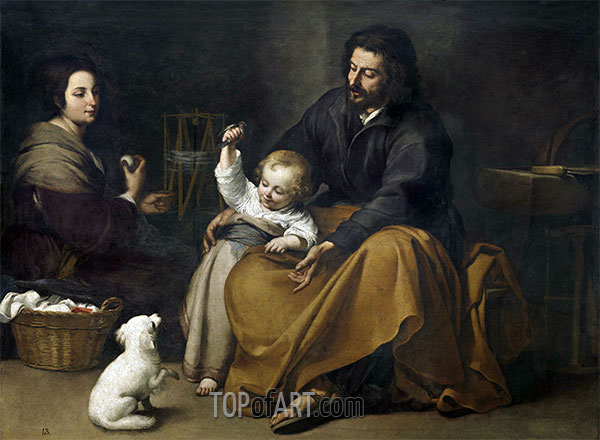 The Holy Family with a Little Bird, c.1650 | Murillo | Painting Reproduction