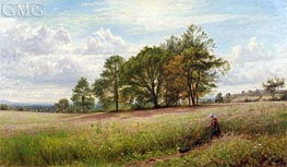 Summer Time: Through the Hayfield, Worcestershire, 1866 by Benjamin Williams Leader | Painting Reproduction