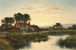 Worcestershire Cottages, 1897 by Benjamin Williams Leader | Painting Reproduction
