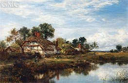 Worcestershire Cottages, 1894 by Benjamin Williams Leader | Painting Reproduction