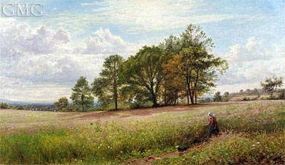 Summer Time: Through the Hayfield, Worcestershire, 1866 | Benjamin Williams Leader | Painting Reproduction