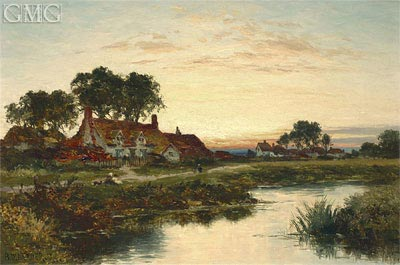 Worcestershire Cottages, 1897 | Benjamin Williams Leader | Painting Reproduction