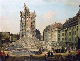 The Ruins of the Old Kreuzkirche, Dresden, c.1765/67 by Bernardo Bellotto | Painting Reproduction