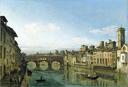 The Arno in Florence with the Ponte Vecchio, c.1745 by Bernardo Bellotto | Painting Reproduction