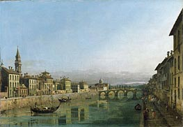 The Arno in Florence with the Ponte alla Carraia | Bernardo Bellotto | Painting Reproduction