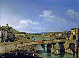 View of an Old Bridge Over the River Po, Turin, 1745 von Bernardo Bellotto | Gemälde-Reproduktion