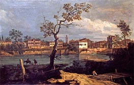 Country, Shore by the River, undated by Bernardo Bellotto   Painting Reproduction