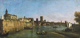 View of Verona with the Castelvecchio and Ponte Scaligero, c.1745/46 by Bernardo Bellotto   Painting Reproduction