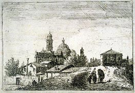 A View of Padua with a Gateway and a Domed Church, c.1740 by Bernardo Bellotto   Painting Reproduction