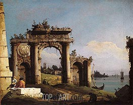 Capriccio with a Triumphal Arch on the Banks of the Lagoon, c.1743 by Bernardo Bellotto | Painting Reproduction
