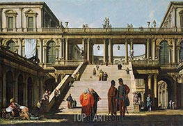 Architectural Fantasy with a Palace Stairway, 1762 by Bernardo Bellotto | Painting Reproduction