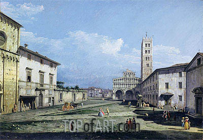The Piazza San Martino and The Duomo, c.1747 | Bernardo Bellotto | Gemälde Reproduktion
