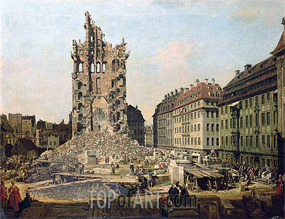The Ruins of the Old Kreuzkirche, Dresden, c.1765/67   Bernardo Bellotto   Painting Reproduction