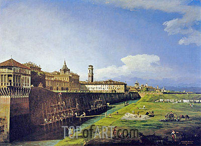 View of Turin from the Gardens of the Palazzo Reale, 1745 | Bernardo Bellotto | Painting Reproduction
