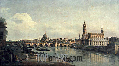 Dresden from the Right Bank of the Elbe below the Augustusbrucke, c.1751/53 | Bernardo Bellotto | Painting Reproduction
