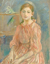 The Artist's Daughter with a Parakeet, 1890 by Berthe Morisot | Painting Reproduction