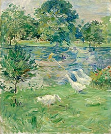 Girl in a Boat with Geese, c.1889 by Berthe Morisot | Painting Reproduction