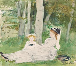 At the Edge of the Forest (Edma and Jeanne), c.1872 by Berthe Morisot | Painting Reproduction