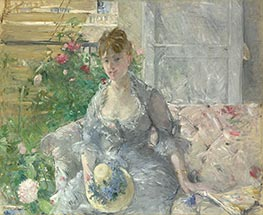Young Woman Seated on a Sofa, c.1879 by Berthe Morisot | Painting Reproduction