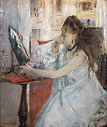 Young Woman Powdering Herself, c.1877 by Berthe Morisot | Painting Reproduction