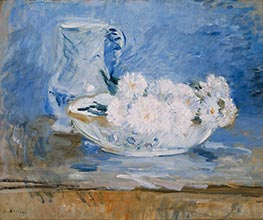 White Flowers in a Bowl, 1885 by Berthe Morisot | Painting Reproduction