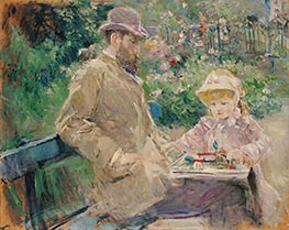 Eugene Manet and His Daughter in the Garden of Bougival | Berthe Morisot | Painting Reproduction