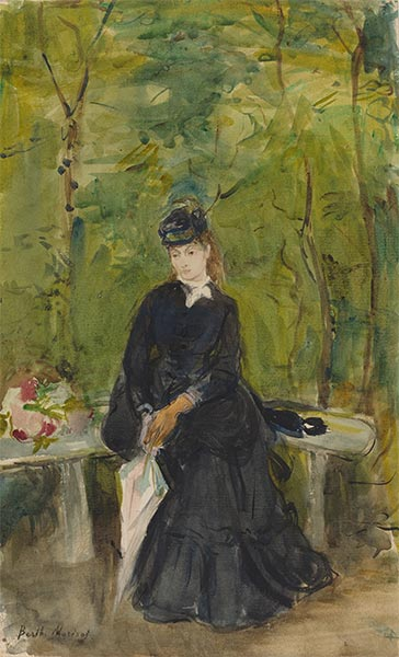 The Artist's Sister Edma Seated in a Park, 1864 | Berthe Morisot | Painting Reproduction