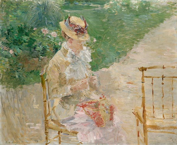 Young Woman Knitting, c.1883 | Berthe Morisot | Painting Reproduction