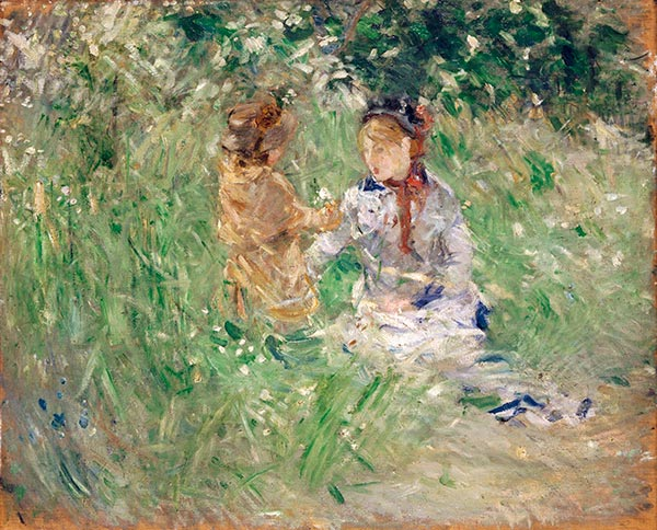 Woman and Child in a meadow at Bougival, Undated | Berthe Morisot | Painting Reproduction