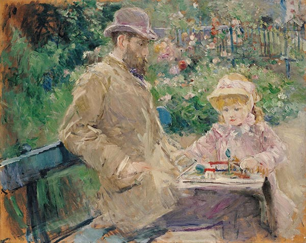 Eugene Manet and His Daughter in the Garden of Bougival, 1881 | Berthe Morisot | Painting Reproduction