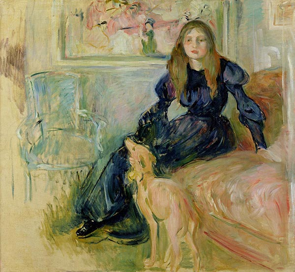 Julie Manet and Her Greyhound Laertes, 1893 | Berthe Morisot | Painting Reproduction