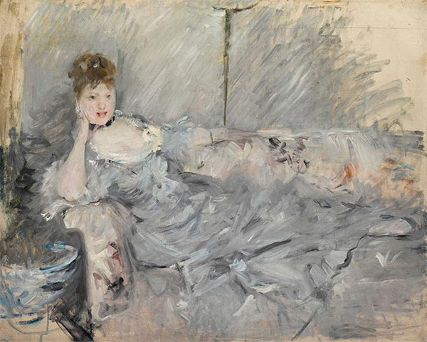 Young Woman in Gray Recline, 1879   Berthe Morisot   Painting Reproduction
