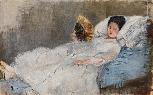 Woman with a Fan. Portrait of Madame Marie Hubbard, 1874 | Berthe Morisot | Painting Reproduction