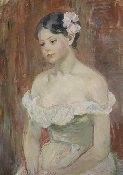 Young Girl in a Low Cut Dress with a Flower in Her Hair, 1893 | Berthe Morisot | Painting Reproduction