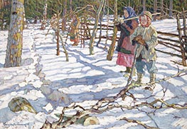 Young Drivers on a Bear Hunt, Undated by Nikolay Bogdanov-Belsky | Painting Reproduction