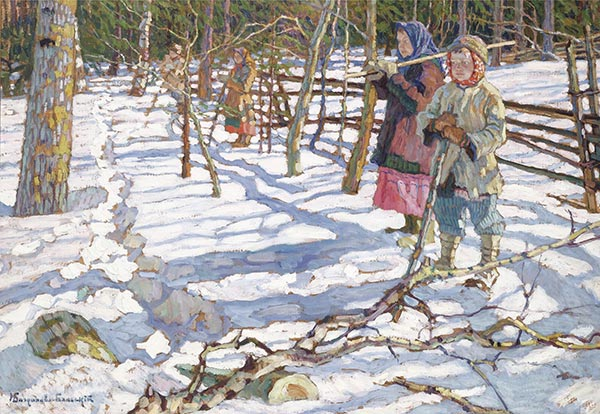 Young Drivers on a Bear Hunt, Undated | Nikolay Bogdanov-Belsky | Painting Reproduction