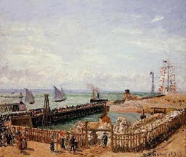 The Jetty, Le Havre - High Tide, Morning Sun | Pissarro | Painting Reproduction