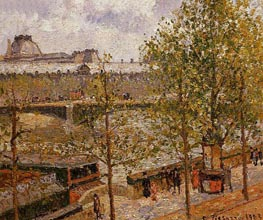 The Louvre, Morning, Sun, Quai Malaquais | Pissarro | Painting Reproduction