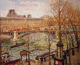 The Pont du Carrousel, Afternoon, 1903 by Pissarro | Painting Reproduction