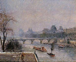 The Louvre - Morning, Snow Effect | Pissarro | Painting Reproduction