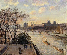 The Louvre and the Seine from the Pont-Neuf, 1902 by Pissarro | Painting Reproduction
