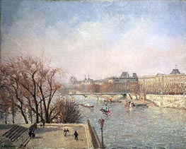 The Louvre - Morning, Sun | Pissarro | Gemälde Reproduktion