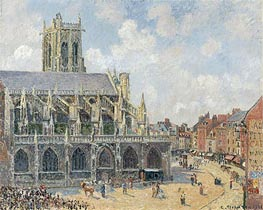 The Church of St Jacques in Dieppe, Morning Sun | Pissarro | Gemälde Reproduktion