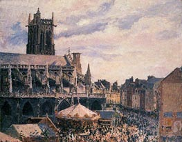 The Fair by the Church of Saint-Jacques, Dieppe | Pissarro | Painting Reproduction