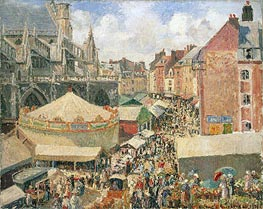The Fair in Dieppe, Sunny Morning | Pissarro | Painting Reproduction