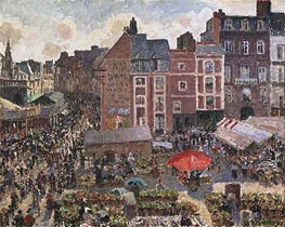 Fair on a Sunny Afternoon, Dieppe | Pissarro | Painting Reproduction