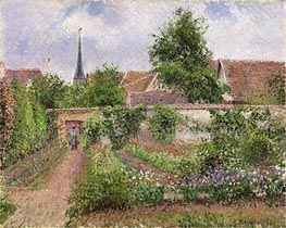 Vegetable Garden in Eragny, Overcast Sky, Morning | Pissarro | Painting Reproduction