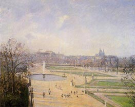 The Bassin des Tuileries - Afternoon, Sun, 1900 by Pissarro | Painting Reproduction
