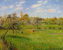Spring Morning, Cloudy, Eragny | Pissarro | Painting Reproduction