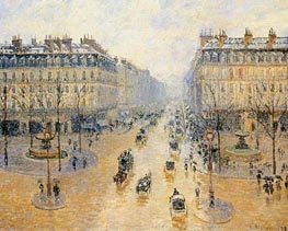 Avenue de l'Opera - Snow Effect, 1898 by Pissarro | Painting Reproduction